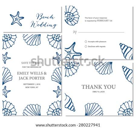 Beach wedding invitation set illustration stock vector royalty free beach wedding invitation set illustration stopboris Images