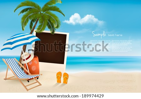 Beach with a palm tree, a photograph and a beach chair. - stock vector
