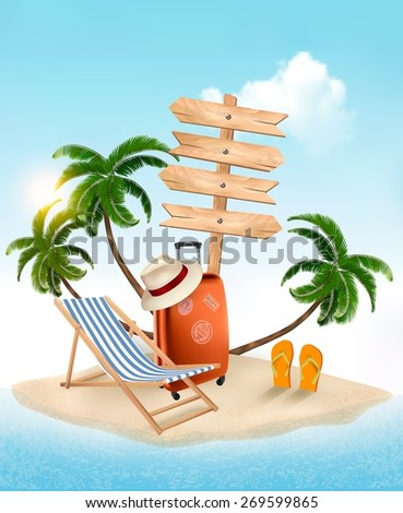Beach with a palm tree, wooden sign and a beach chair. Summer vacation concept background. Vector.  - stock vector