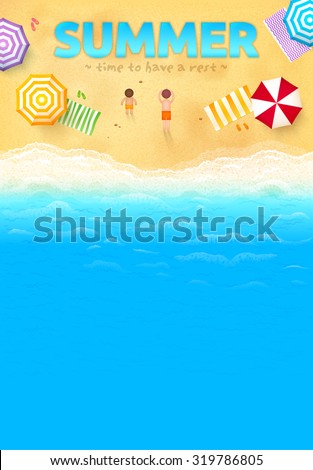 Beach with colorful umbrellas, towels, people and SUMMER sign, vector leaflet template - stock vector
