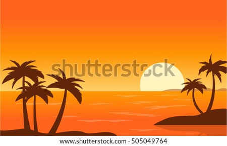 beach palm sunset landscape vector art stock vector royalty free