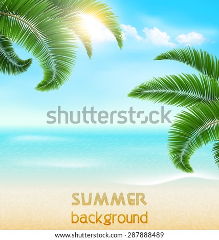 Beach with palm branches and clouds. Summer holiday vacation background - stock vector