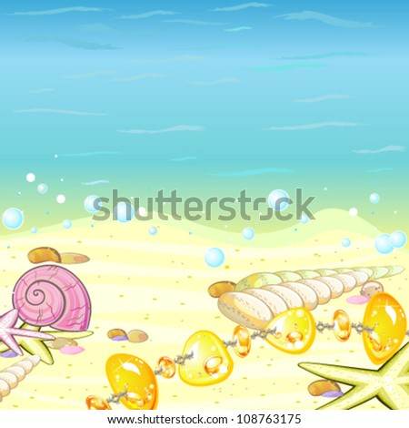 Beach with shells and amber