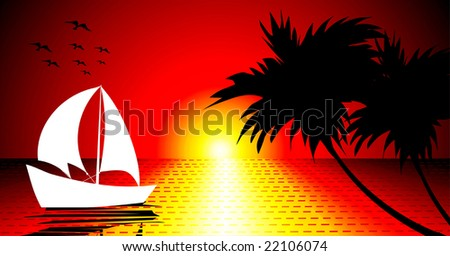 beach with ship and sunlight - stock vector