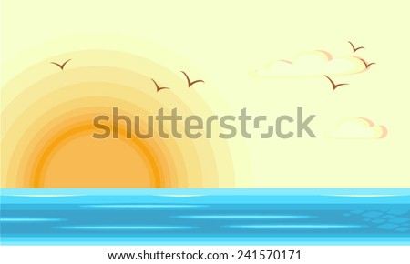 Beach with sunrise at the horizon - stock vector