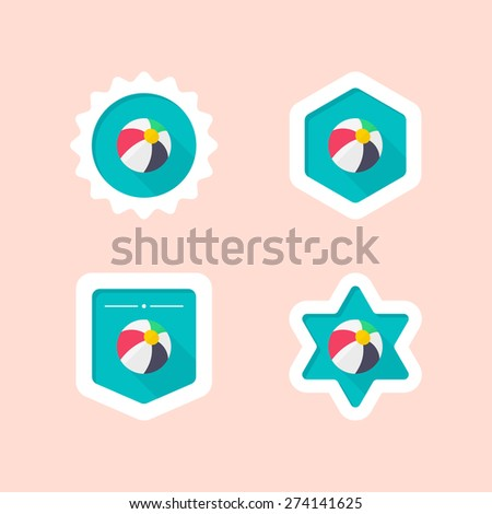 beachball flat icon with long shadow - stock vector