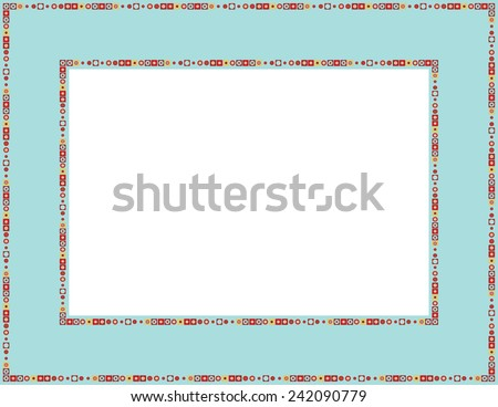 Beaded frame-Beaded patterned frame with mosaic border; can be used for baby showers, Easter, Christmas invites, Valentines invite or other occasions  - stock vector