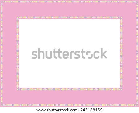 Beaded frame-Beaded patterned frame with mosaic border; can be used for baby showers, Easter, Thanksgiving, Christmas invites, Valentines invite or other occasions - stock vector