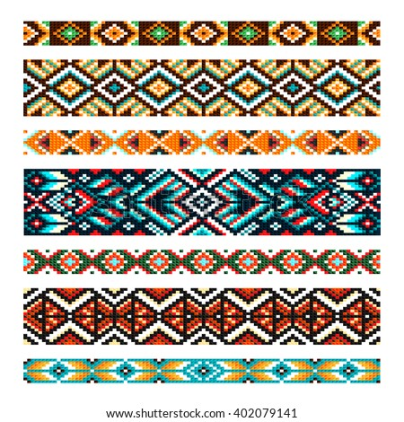 Beading design, tribal  design,  tribal beads,  bead necklace, african beads,  ethnic seamless pattern, embroidery cross, squares, diamonds, chevrons. Beads, bracelet, ribbon, lace, bead weaving. - stock vector