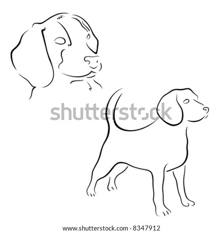 Beagle design set - stock vector