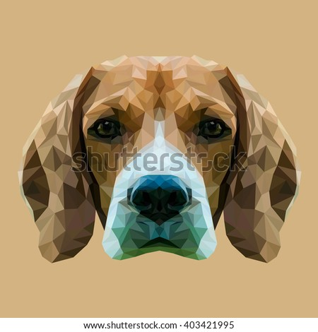 Beagle dog animal low poly design. Triangle vector illustration. - stock vector