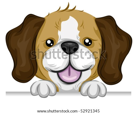 Beagle holding on the Edge (of a Board) - Vector - stock vector