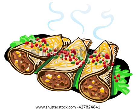 Bean, beef and cheese burritos - stock vector