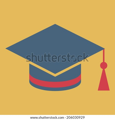 Beanie graduate, vector, flat icon (from set Back to school) - stock vector