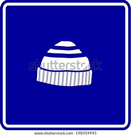 beanie knit cap sign - stock vector