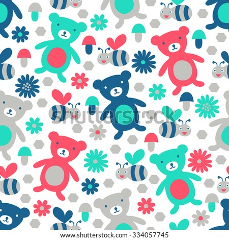 Bear and bee seamless pattern. Vector illustration. Cloth design, wallpaper, wrapping. - stock vector