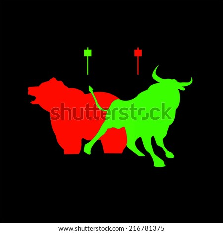 Bear and Bull candlestick take profit buy and sell trader - stock vector
