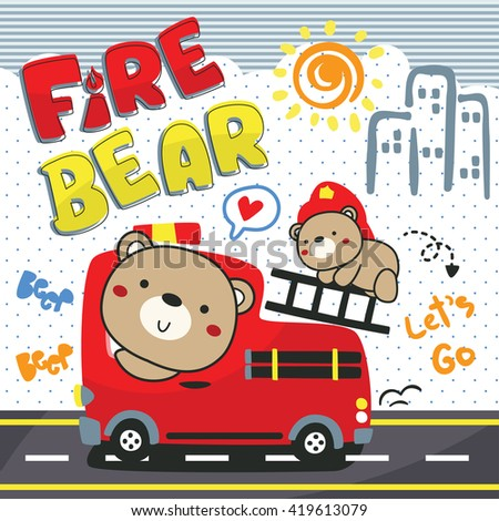 Bear and His brother driving playing toy bus car fire truck on street illustration vector. - stock vector