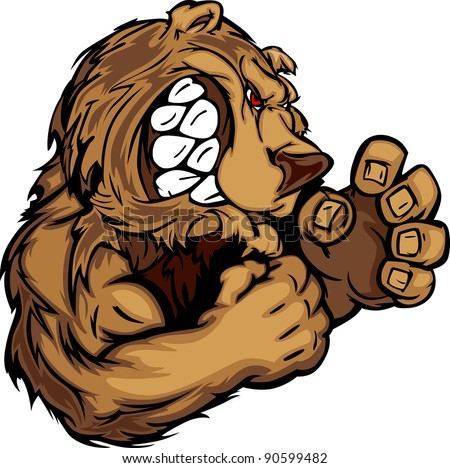 Bear Fighting Mascot Body Vector Illustration - stock vector
