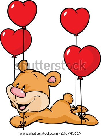 bear flying with balloons in the shape of heart isolated on white background - stock vector
