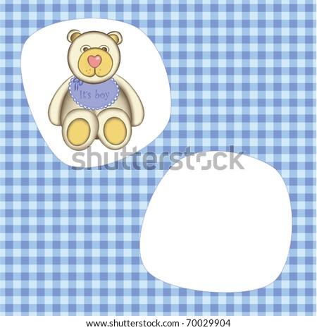 Bear for baby boy . Good for photo frame - stock vector
