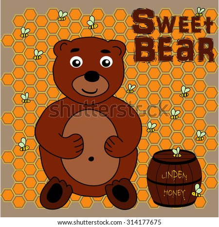 Bear freehand drawing with barrel of haney, surrounded by bees, honeycomb background, vector