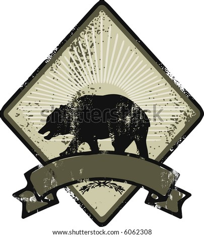 Bear grunge logo - stock vector