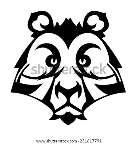 Bear head for tattoo or mascot logo vector black and white image