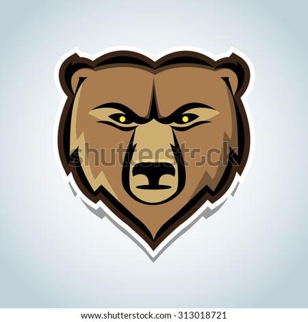 Bear head mascot illustration. - stock vector