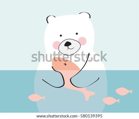 Vector Cute Sleeping Baby Bear Bed Stock Vector 397047808