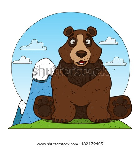Bear. Illustration on the theme of protection of animals and the environment.