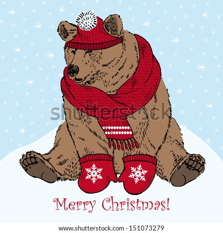 Bear in Red Knitted Hat, Scarf and Mittens slithering on Snow Hill, Merry Christmas Greeting Card - stock vector