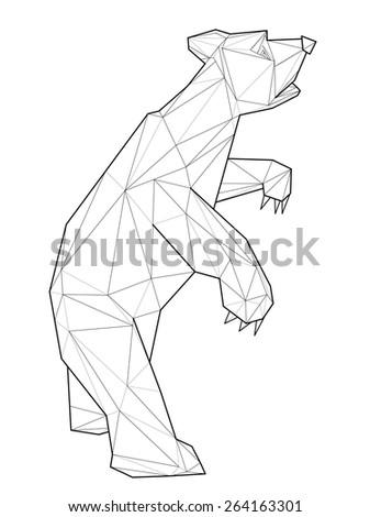 Bear. Low polygon linear vector illustration - stock vector