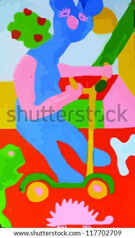 bear on the scooter, painting