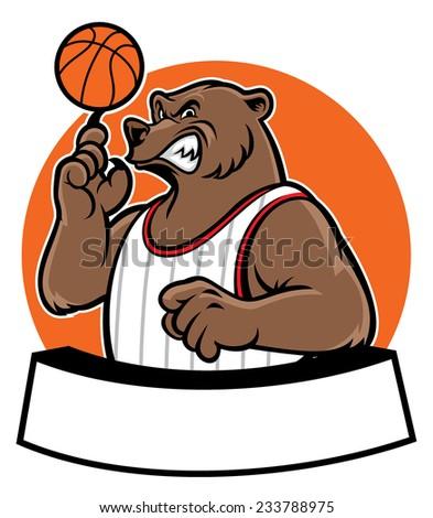 bear school basketball mascot - stock vector