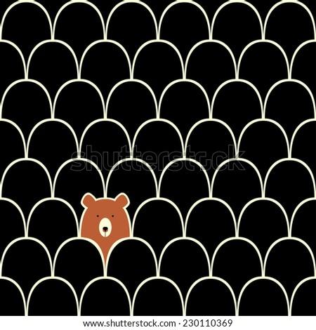 Bear seamless cartoon pattern - stock vector