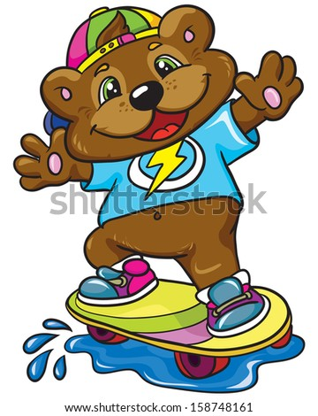 Bear skateboarder on a white background, vector illustration - stock vector