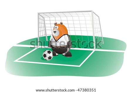 bear soccer goalkeeper in front of the goal with soccer-ball	 	 	 	 	 	 	 	 - stock vector