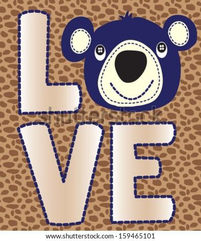 bear/T-shirt graphics/cute cartoon characters/cute graphics for kids/Book illustrations/textile graphic/graphic designs for kindergarten/cartoon character design/fashion graphic/cute wallpaper - stock vector