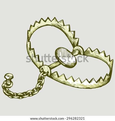 Bear trap. Vector Image - stock vector