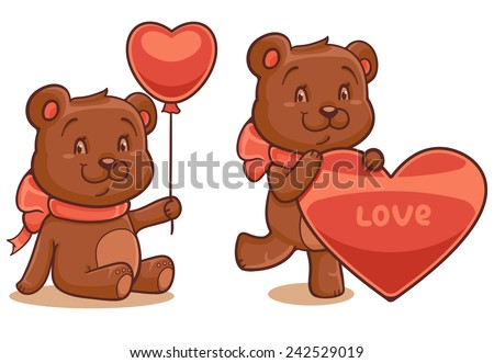 Bear with balloon and bear with heart isolated on white - stock vector