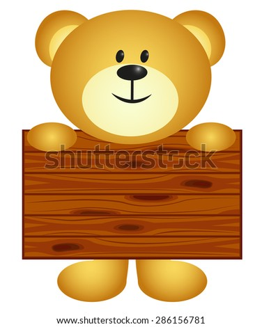 Bear with board - stock vector