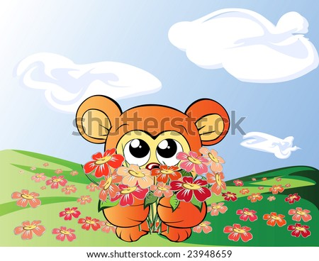 Bear with flowers - stock vector