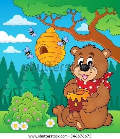 Bear with honey theme image 2 - eps10 vector illustration. - stock vector