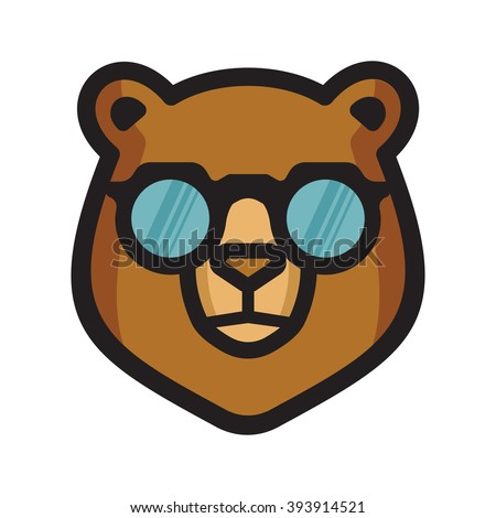 Bear with sunglasses vector icon - stock vector
