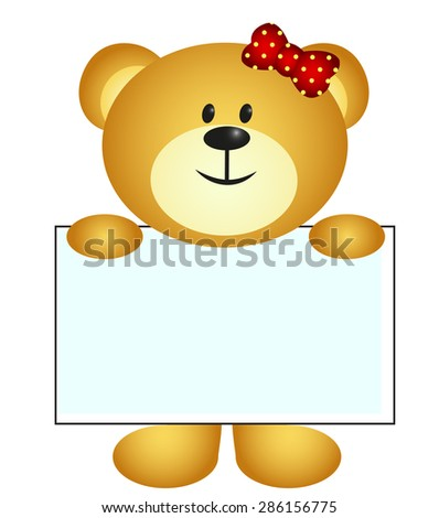 Bear with white board - stock vector