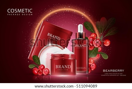 Bearberry cosmetic ads template, 3D illustration cosmetic mockup with ingredients on the dark red background