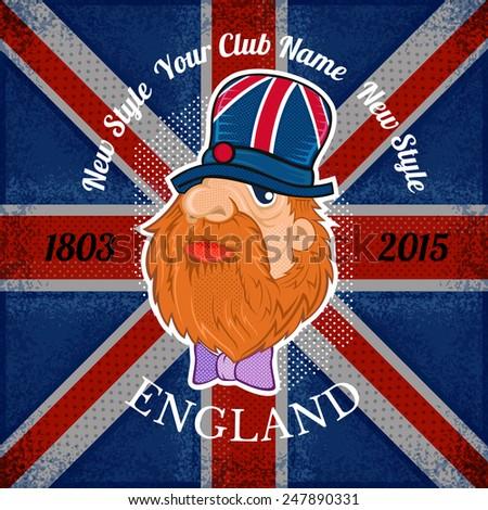 beard head of englishman in hat on british flag grunge background.print street style - stock vector