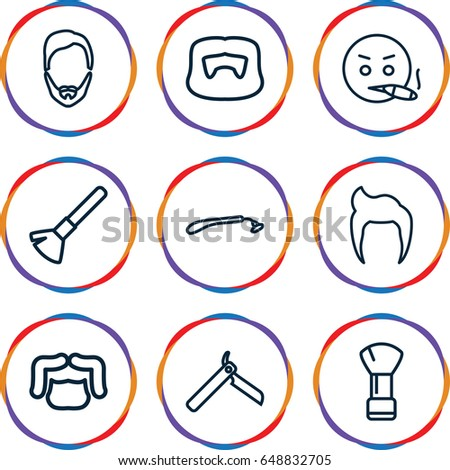 Beard icons set. set of 9 beard outline icons such as man hairstyle, bllade razor, razor, shaving brush