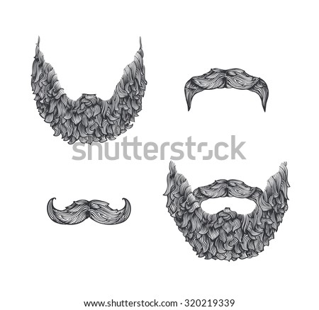 Beard set, line art illustration, hand drawn - stock vector